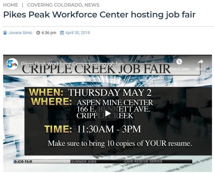 KOAA news Cripple Creek Job Fair 2019